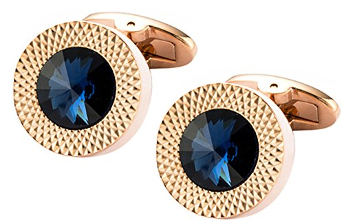 Cufflinks Direct Sapphire Blue Swarovski Crystal Gem in Rose Gold Plate Men Gift (Cufflinks With Gift Bag) (Blue Sapphire Cufflinks)