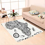 Nalahome Custom carpet chy Decor Illustration of a Vintage Africa Map with Hand Written Letters Print Coconut and Black area rugs for Living Dining Room Bedroom Hallway Office Carpet (6.5' X 10')