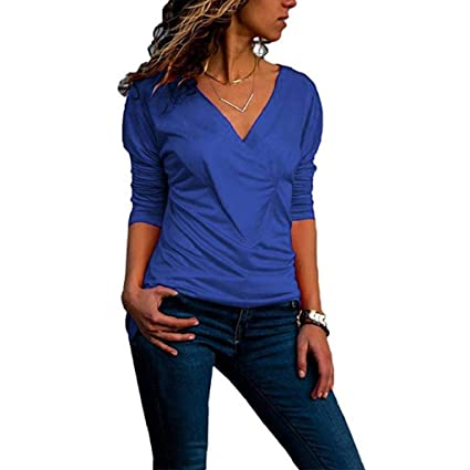 Luckycat Forme a Mujeres la Camiseta sólida con Cuello en v Office Ladies Plain Roll Sleeve Blusa Tops: Amazon.es: Ropa y accesorios