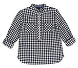 Tommy Hilfiger Women's Cotton Half-Zip Printed Popover Top Small Black/White Gingham