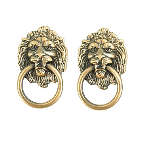 IdealDecor Set of 2 Lion Head Handle Antique Zinc Alloy Knobs Drawer Pulls/Knobs/Handles/for Kitchen Cabinets,Cupboards,Wardrobe,Drawer, Furniture Hardware