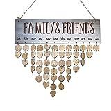 Kanzd DIY Hanging Calendar Wood Family Birthday Celebration Reminder Board Advent Valentine Gift (A)