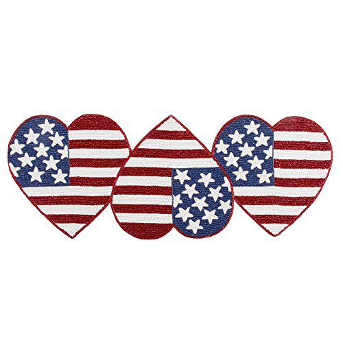 Nantucket Home Patriotic Stars and Stripes Hearts Beaded Table Runner