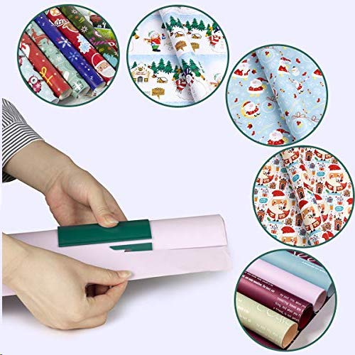 Aitsite Cortador de Papel Embalaje Envoltura de Regalos Cortador de Papel Papel de Regalo de Navidad Herramienta de Corte Paper Cutter (Verde)