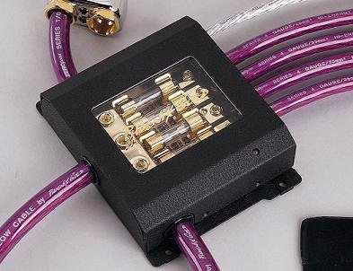 Phoenix Gold Fuse Block - Phoenix Gold ZBB342BLK, Fuse Distribution Block with Diagnostics Plug, Titanium Series, 1 to 2, for AGU Fuses, input: 3 cables – 1 Gauge (50mm²), output: 2 cables – 1 Gauge (50mm²)
