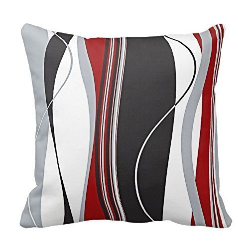 YOUHOME Wavy Vertical Stripes Red Black White and Grey Polyester Decorative Throw Pillow Case Cushion Cover 18 x 18 Inches