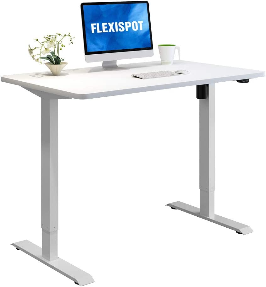 Flexispot Standing Desk, 48 x 24 Inches Height Adjustable Desk, Electric Sit Stand Desk Home Office Desks Whole-Piece Desk Board (White Frame + 48 in White Top)