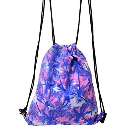 Women 3D Printing Sunglasses Cat Backpack Travel Drawstring Bag - 4