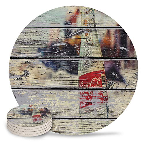 4 Inch Round Absorbent Ceramic Coasters Coke Bottle on Beach Wood Grain Tabletop Protection Mat for Mugs and Cups,Housewarming Gifts