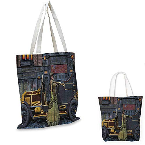Victorian non woven shopping bag Lady Wearing Old Style Dress and Vintage Car in Street Mechanic Industrial Era Print fruit shopping bag Multi. - Dress Gi Zip Double