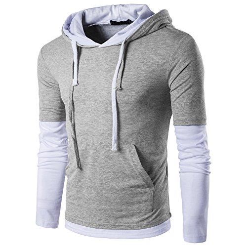 QPNGRP Men's Casual Long Sleeve Slim-Fit Hoodie Shirt B26 Gray Small ()