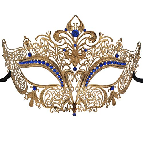 Xvevina Masquerade Mask Women Venetian Party Blue Rhinestone Vintage Metal Mask