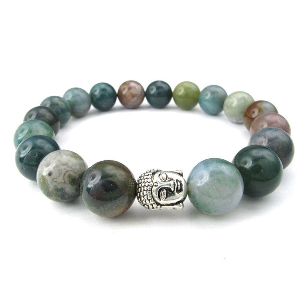 TEMEGO Jewelry Mens Womens 10mm Alloy Natural Agate Bracelet, Classic Buddha Mala Beads Stretch Bracelet