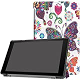 Fire HD 10 Case, Tri-fold Stand Case for All-New Amazon Fire HD 10 Tablet 2017 Release, Slim PU Leather Case Folding Stand Case Cover for Fire HD10 with Auto Wake/Sleep (Butterfly 3 fold)