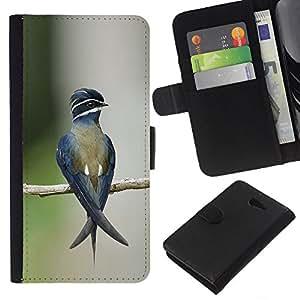 KingStore / Leather Etui en cuir / Sony Xperia M2 / Direction floue Nature Vert