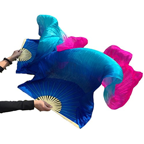 Nimiman Chinese Women Silk Belly Dance Fan Veils Blue Turquoise Rose (L)