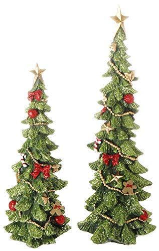 Decorated Christmas Tree Figurines in Glittered Green, Red and Gold -12 Inches and 9 inches high