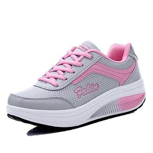 XMeden Women's Mesh Lace Up Sport Running Shoes Rx8391 Pink 77MwZgFHe4