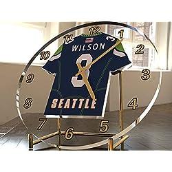 FanPlastic Russell Wilson 3 Seattle Seahawks Desktop Clock - National Football League Legends Edition !!