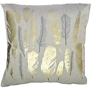 Gold Foil Decorative Pillow : Amazon.com: HOMETALE Feather Gold Foil Print Decorative Throw Pillow COVER 18