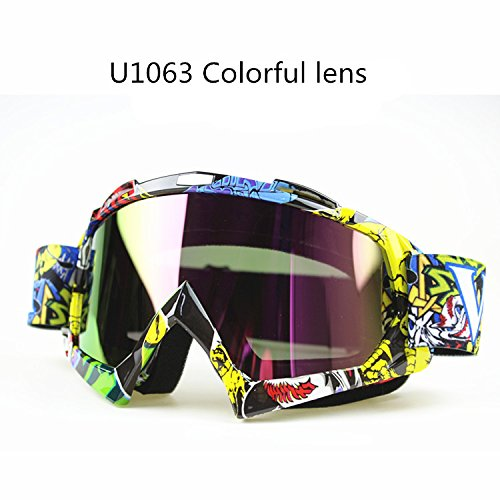 SOLICHT Man&Women Motocross Goggles Glasses MX Off Road Goggles Ski Sport Gafas for Motorcycle Dirt Bike Racing Google (colorful lens)