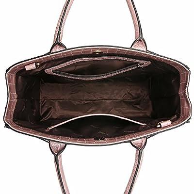 Kadell Women's Leather Designer Handbags Crocodile Embossed Shoulder Bag Satchel for Ladies
