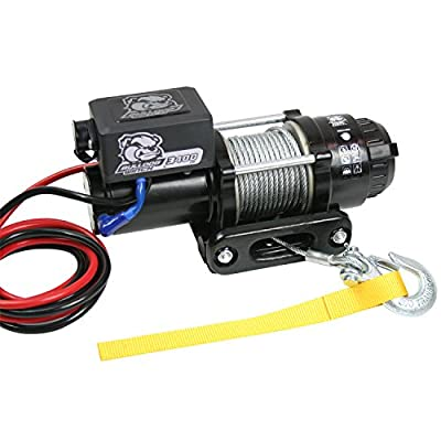 BULLDOG Winch 15017 Winch (3400lb Trailer/Utility with 45 ft. Wire Rope, Roller Fairlead, Mounting Plate, Low Profile)