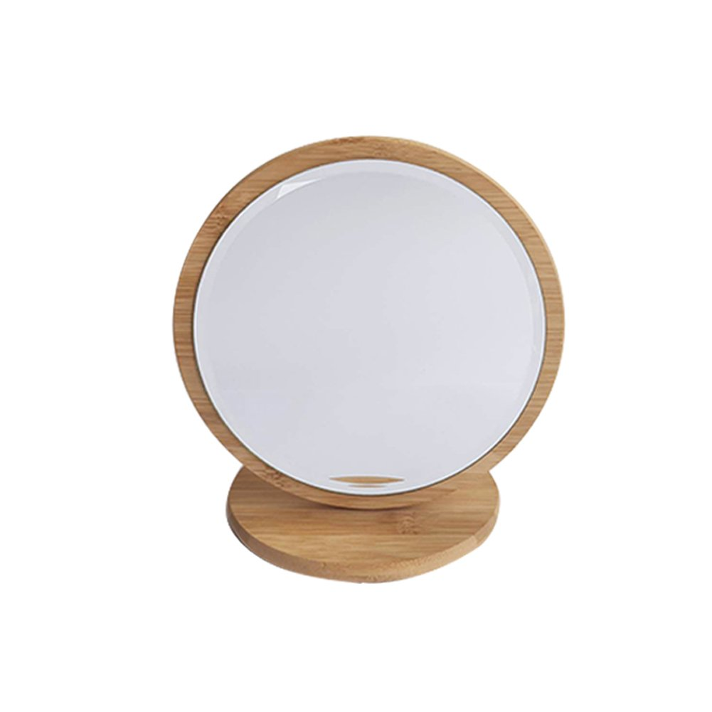 JIAZHU Portable Wood Mirror, Tabletop Cosmetic Mirror Wooden Makeup Mirror with Stand Beauty Vanity Wood Mirrors