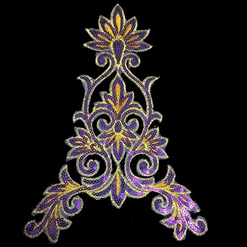 1 Pair Flower Purple Lace Vintage Design DIY Applique Embroidered Sew on Iron on Patch