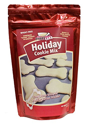 Puppy For Christmas Present - Holiday Cookie Mix and Bone Shaped Cookie Cutter for Dogs 10 oz
