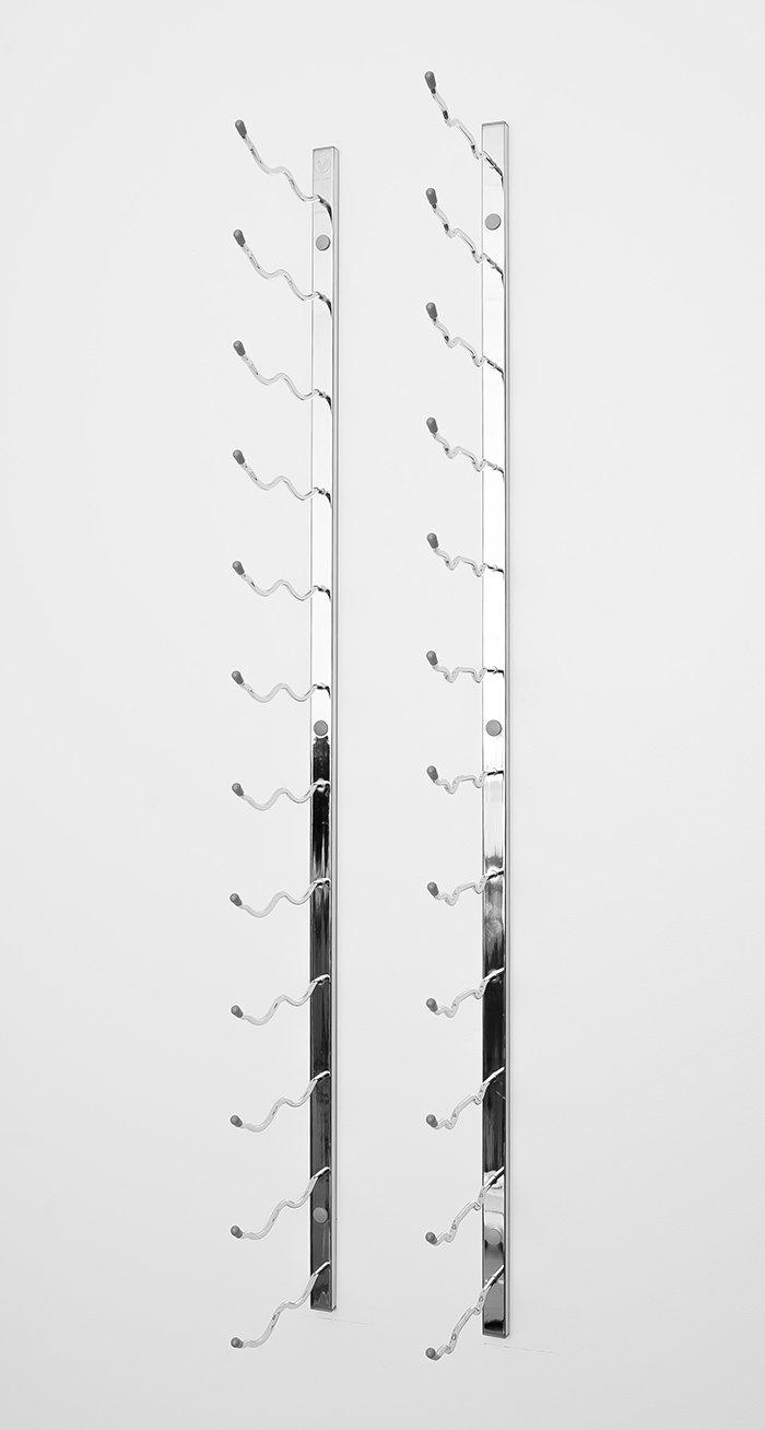VintageView WS52 5-Foot 30 Bottle Metal Wall Mounted Wine Rack in Chrome (2 Rows Deep)