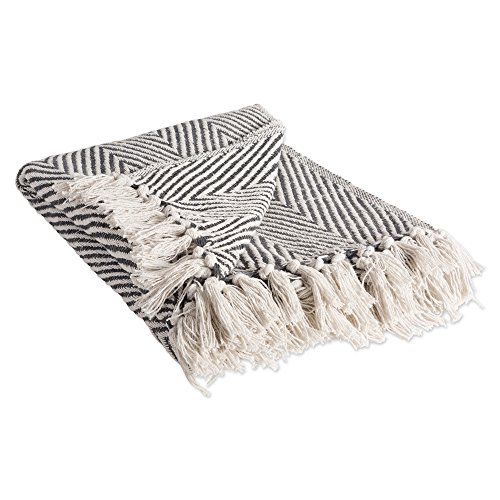 DII Rustic Farmhouse Cotton Chevron Blanket Throw with Fringe For Chair, Couch, Picnic, Camping, Beach, & Everyday Use , 50 x 60'' - Urban Chevron Mineral by DII