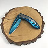 Buckshot Knives Thumb Open Spring Assisted Color Damascus Etched Stainless Steel Handle W/ Damascus Etched Blade Pocket Knife (PBK207BL)