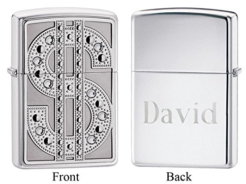 Personalized Zippo Bling Emblem High Polish Chrome Lighter with Free Engraving