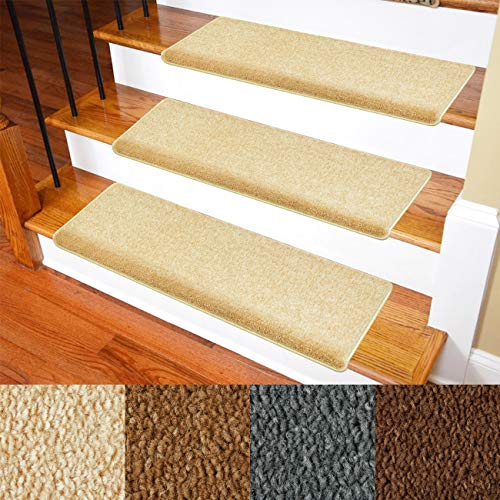 Carpet Stair Treads - Non-Slip Bullnose Carpet for Stairs - Indoor Stair Pads - Self-Adhesive & Easy Installation - Skid Resistant & Washable - 14- Pack Dark Beige/Light Brown/Straw 10