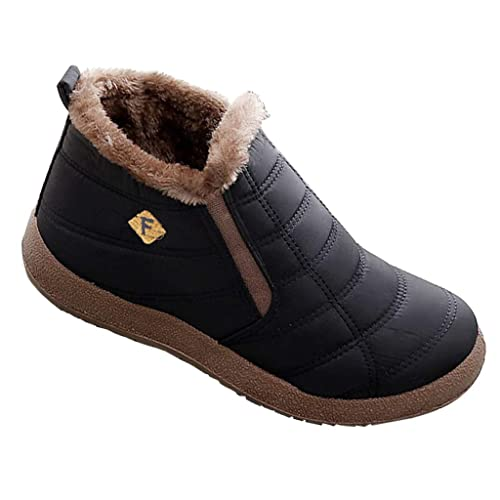 9975dcd5a5a4a Cotouke Womens Warm Ankle Boots Winter Fur Lined Walking Shoes Mens Slip On Lightweight  Casual Booties