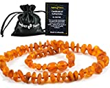 Amber Teething Necklaces for Babies (Unisex) - Anti Flammatory, Drooling & Teething Pain Reduce Properties - Certificated Natural Baltic Amber with The Highest Quality (Cognac)