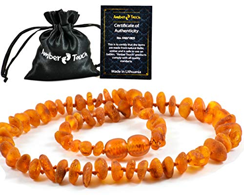 Raw Baltic Amber Teething Necklace (Unisex) - Anti Flammatory, Drooling and Teething Pain Reduce Properties - Unpolished Natural