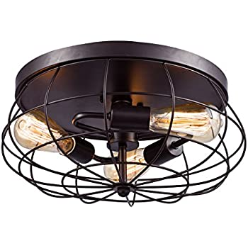 YOBO Lighting Oil Rubbed Bronze Flush Mount Ceiling Light 3-Light  sc 1 st  Amazon.com & YOBO Lighting Oil Rubbed Bronze Wire Cage Vintage 4-Lights Semi ... azcodes.com