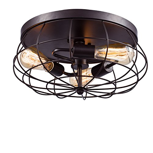 - YOBO Lighting Oil Rubbed Bronze Flush Mount Ceiling Light, 3-Light