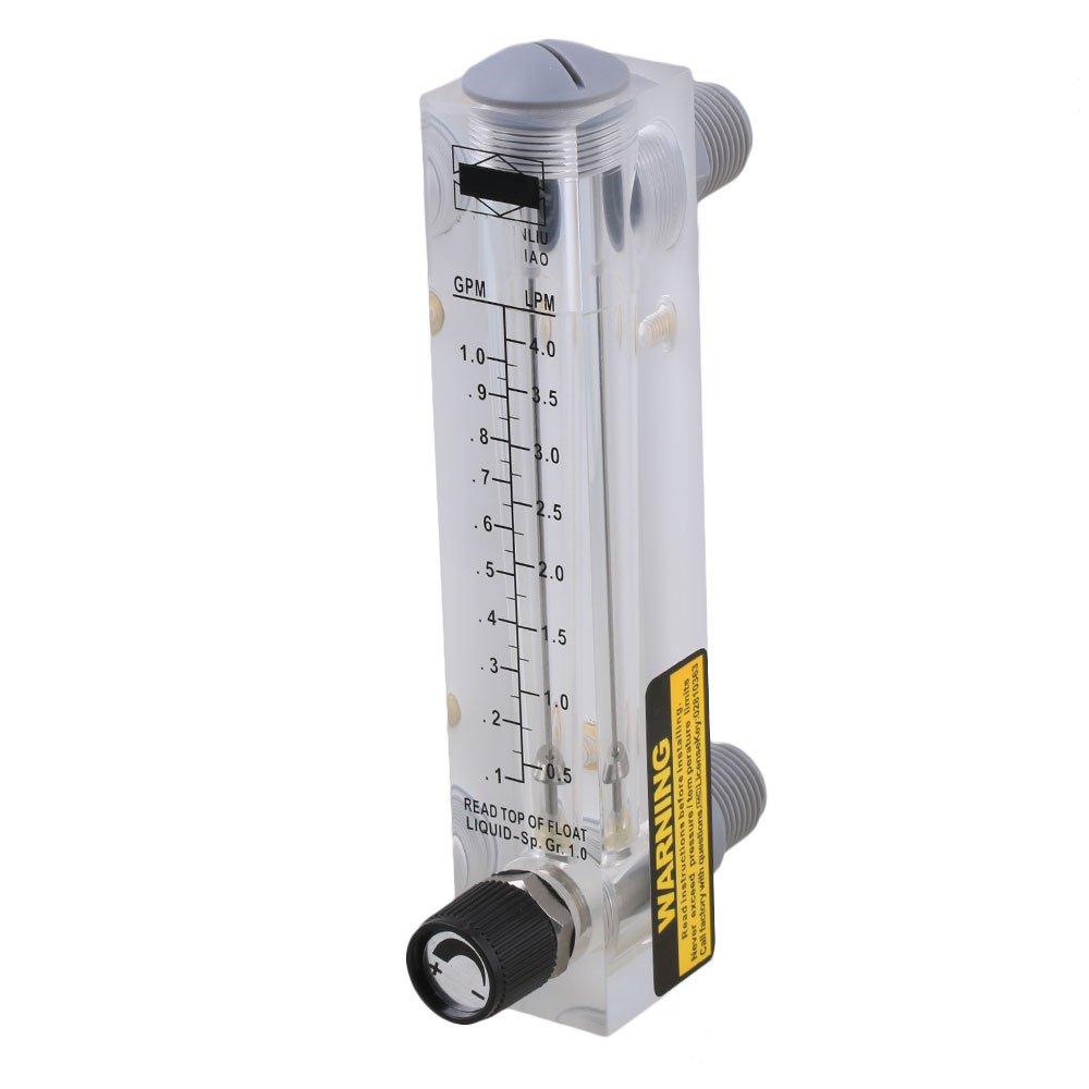 17 x 3.2cm LZM-15T 0.1-1GPM/0.5-4LPM Panel Type Flow Meter Flowmeter for Water Liquid Measurement With Adjustable Knob