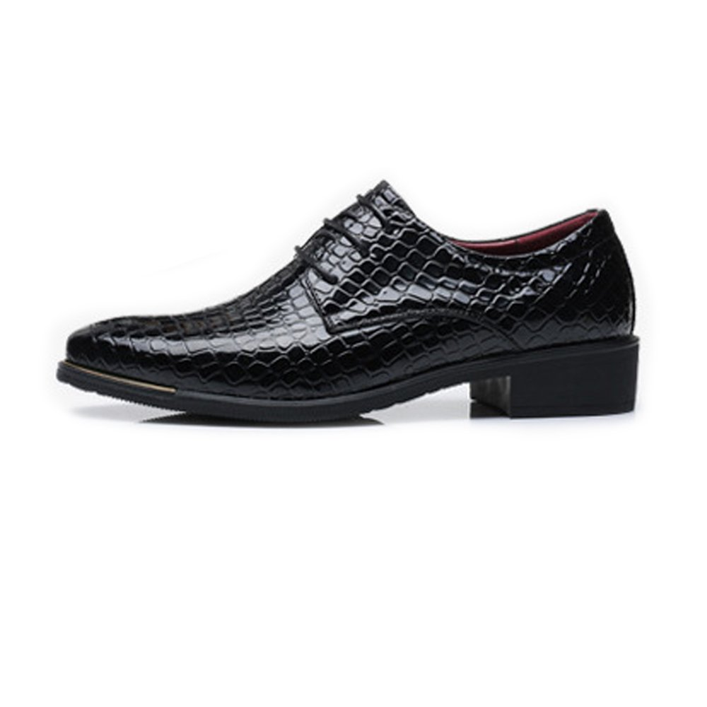 LL Mens PU Leather Shoes Snake Skin Texture Upper Lace Up Breathable Business Low Top Lined Oxfords Breathable