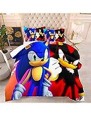 BWE Home 3 Piece Sonic The Hedgehog ?Comforter Set for Boys Toddler - Kids 3D Cartoon Sonic Bedding Set Super Soft Fade Resistant Microfiber Comforter Quilt Set with 2 Pillowcase