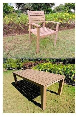 Amicasa. Mesa sillas de jardín Set 7 Piezas Mesa + 6 sillas marrón ...