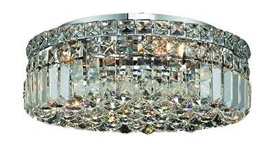 Elegant Lighting 2030F16C/RC Maxim 5.5-Inch High 5-Light Flush Mount, Chrome Finish with Crystal (Clear) Royal Cut RC Crystal