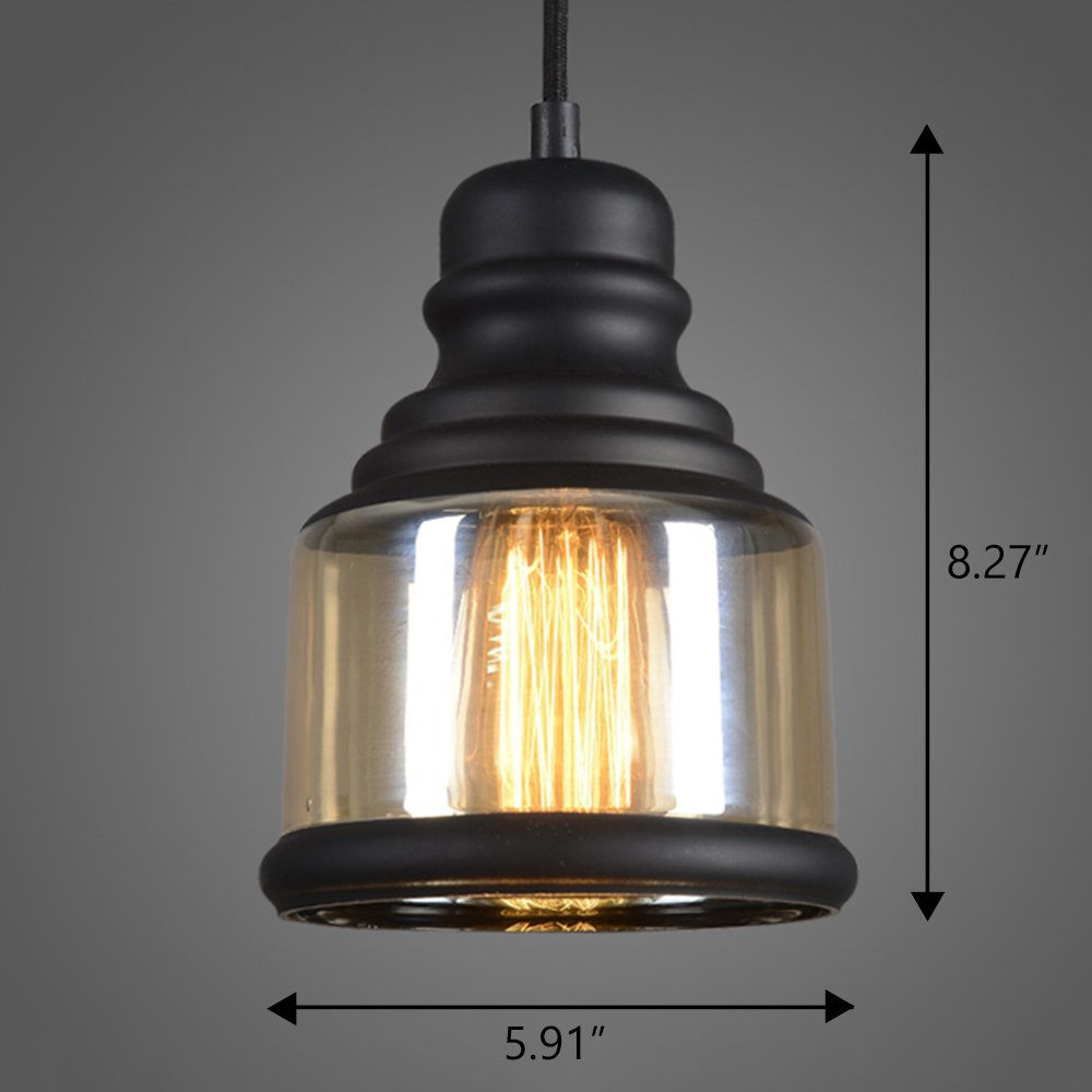 Ruanpu Industrial Retro Amber Adjustable Glass Style Pendant Chandelier Ceiling light lamp with Black Fnish (C)