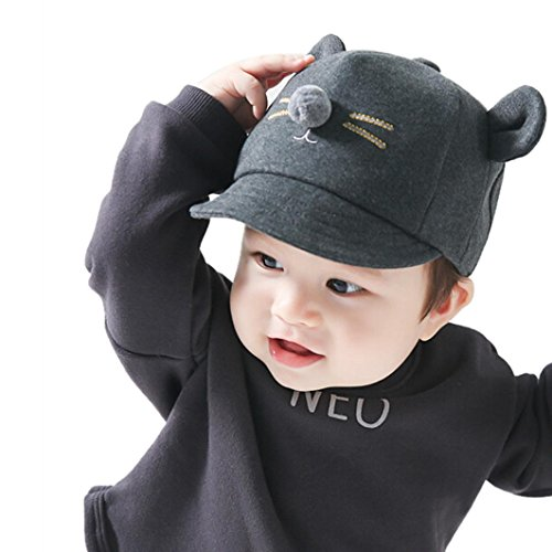 Kollmert Newborn Kids Baby Boy Girl Bunny Rabbit Visor Baseball Cap Cotton Peaked Hat (Black)