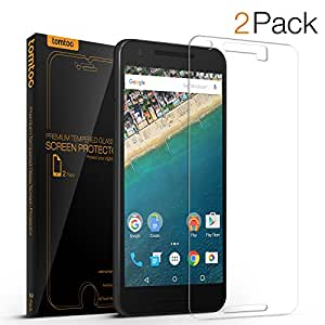 Nexus 5X Screen Protector, Tomtoc Premium Tempered Glass Screen Protector Film for Google LG Nexus 5X [5.2 inch] 2-Pack - Crystal Clear