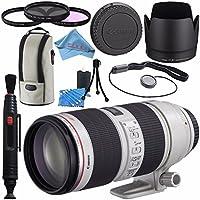 Canon EF 70-200mm f/2.8L IS II USM Lens 2751B002 + 77mm 3 Piece Filter Kit + Lens Cleaning Kit + Lens Pen Cleaner + Fibercloth Bundle