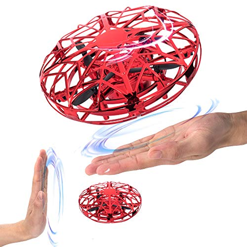 (SLHFPX UFO Flying Ball Toys, Gravity Defying Hand-Controlled Suspension Helicopter Toy, Infrared Induction Interactive Drone Indoor Flyer Toys with 360° Rotating and LED Lights,A Good Present for Boy)